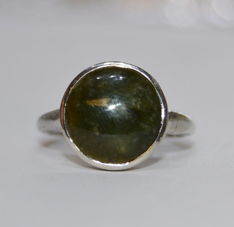 14K White Gold Vintage Inspired Full Bezel Set Dark Green Jade Statement Ring 6