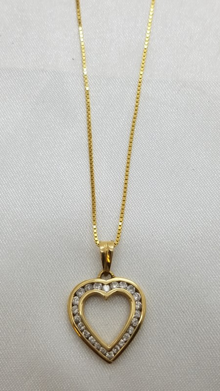 1Ct Channel Set Heart Pendant Necklace on Box Link Chain Yellow Gold