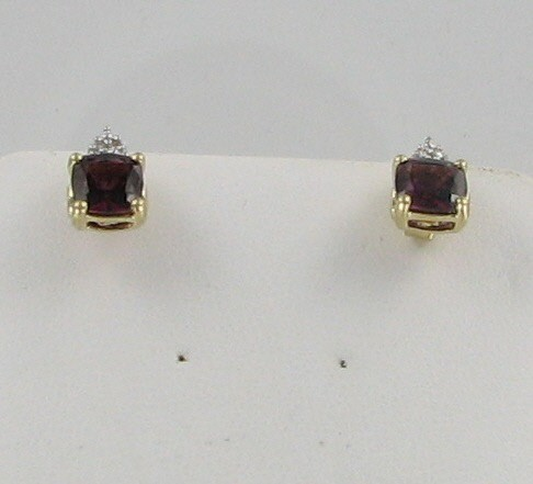 Red Stone Gold-Diamond & Stone Earrings 6 Diamonds .06 Carat T.W.