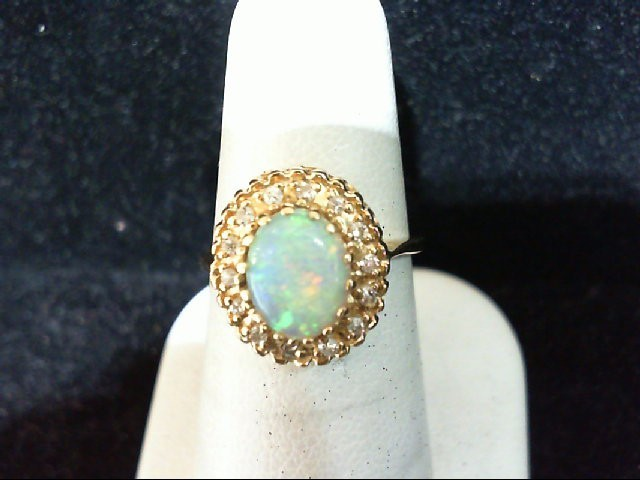 Opal Lady's Stone & Diamond Ring 14 Diamonds .14 Carat T.W. 14K Yellow Gold