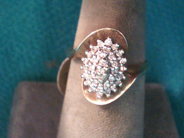 Lady's Diamond Cluster Ring 33 Diamonds .33 Carat T.W. 10K Yellow Gold 3dwt