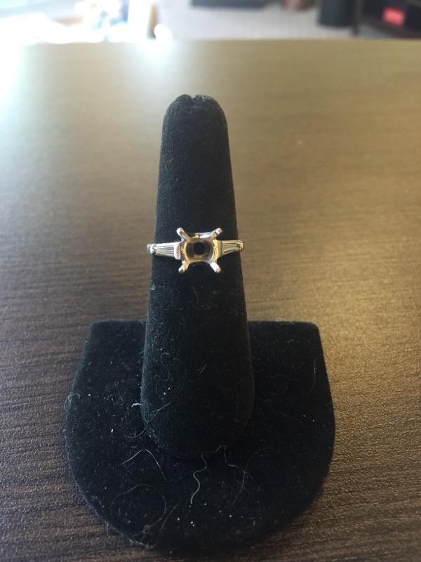 Lady's Platinum-Diamond Ring Mount 2 Diamonds .20 Carat T.W. 950 Platinum