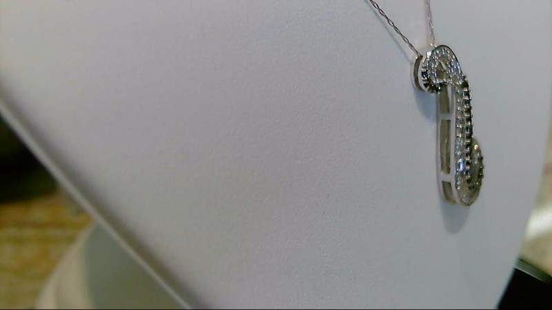 Lady's 10k white gold black and white diamond fancy necklace