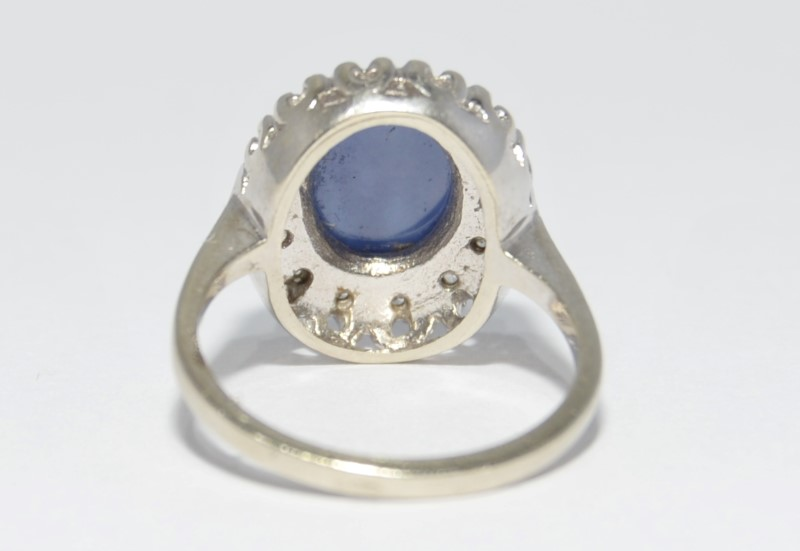 10K White Gold Vintage Inspired Cathedral Set Star Sapphire & Diamond Halo Ring