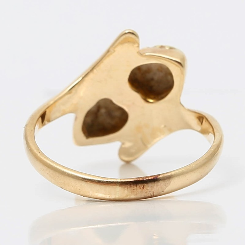 10K Yellow & Rose Gold Leaf Ring Size 3.25