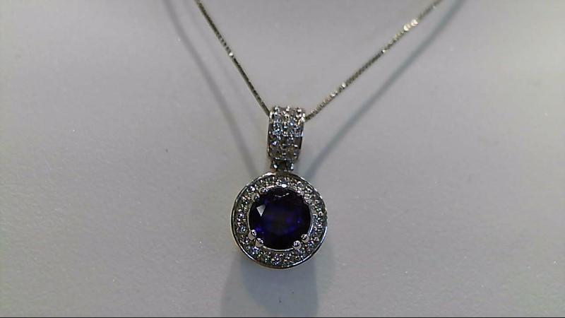 Amethyst Diamond & Stone Necklace 36 Diamonds .180 Carat T.W. 14K White Gold 3g