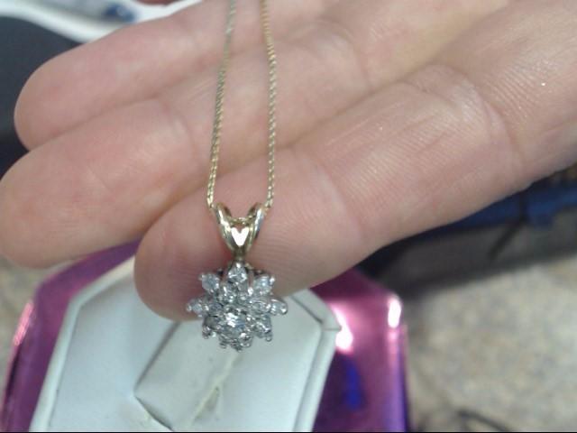 Diamond Necklace 17 Diamonds .63 Carat T.W. 14K Yellow Gold 2.7dwt