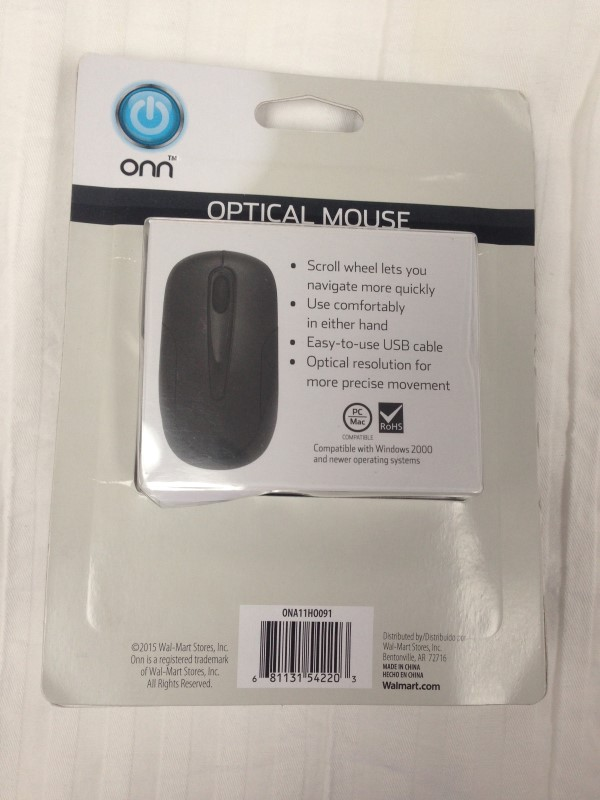 Onn ONA11HO091 3-Button Wired Optical Mouse - USB - Black