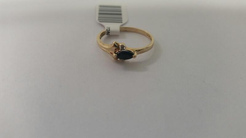 Lds 10K-Y/G Blue Stone And Diamond Ring
