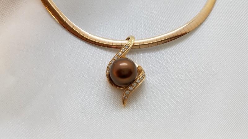Chocolate Pearl & Diamond Pendant on 2-Tone Omega Link Necklace 14k