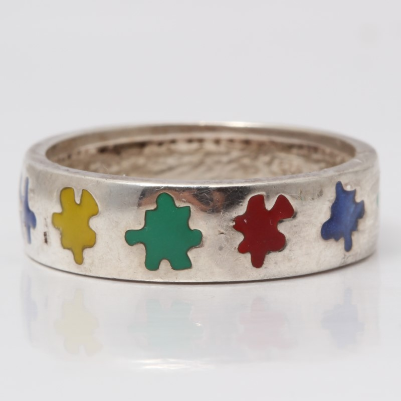 Sterling Silver Multi-Colored Puzzle Piece Ring Size 7.5