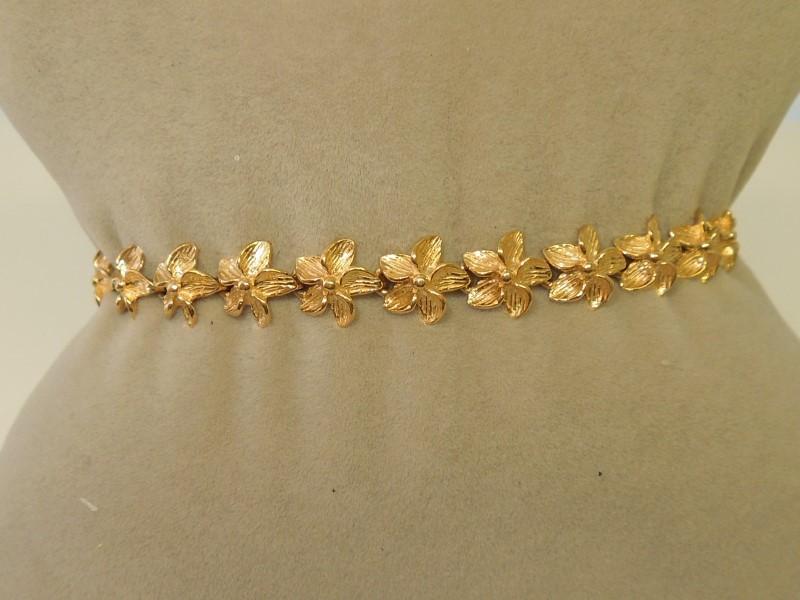 GOLD FLOWER BRACELET 14KYG 10.9GRAMS