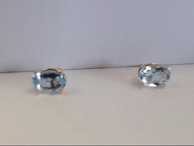 Aquamarine Gold-Stone Earrings 14K Yellow Gold 1.23g