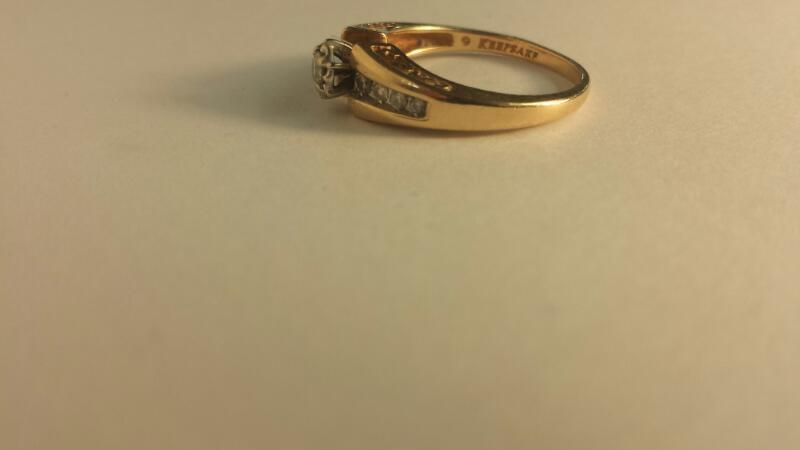 14K-Y/G Lds Diamond Engagement Ring 9-Diamonds