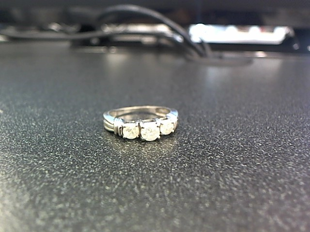 Lady's Diamond Fashion Ring 3 Diamonds .83 Carat T.W. 14K White Gold 3.3g