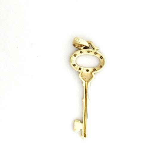 10K Yellow Gold Diamond Oval Shaped Skeleton Key To My Heart Pendant