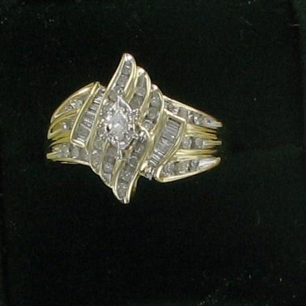 Lady's Diamond Cluster Ring 43 Diamonds 1.33 Carat T.W. 10K Yellow Gold 3.8dwt