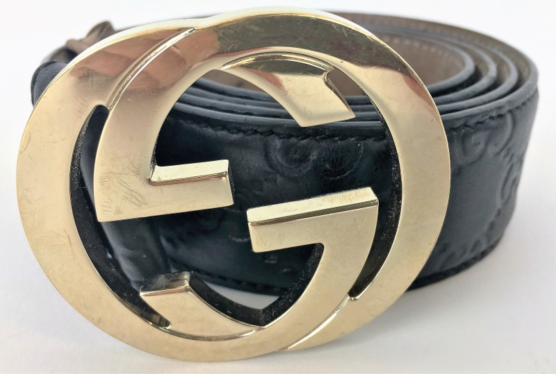 GUCCI 114876 INTERLOCKING G BUCKLE BELT SIZE 42