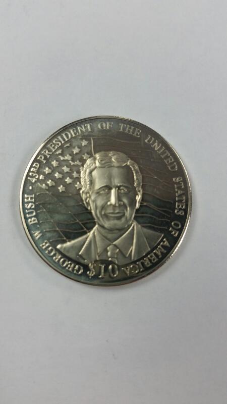 Republic of Liberia 2001 $10 Commemorative George W. Bush Coin