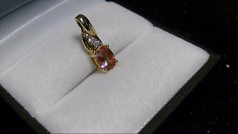 Twilight Mystic Topaz Gold-Diamond & Stone Pendant 2 Diamonds .04 Carat T.W.