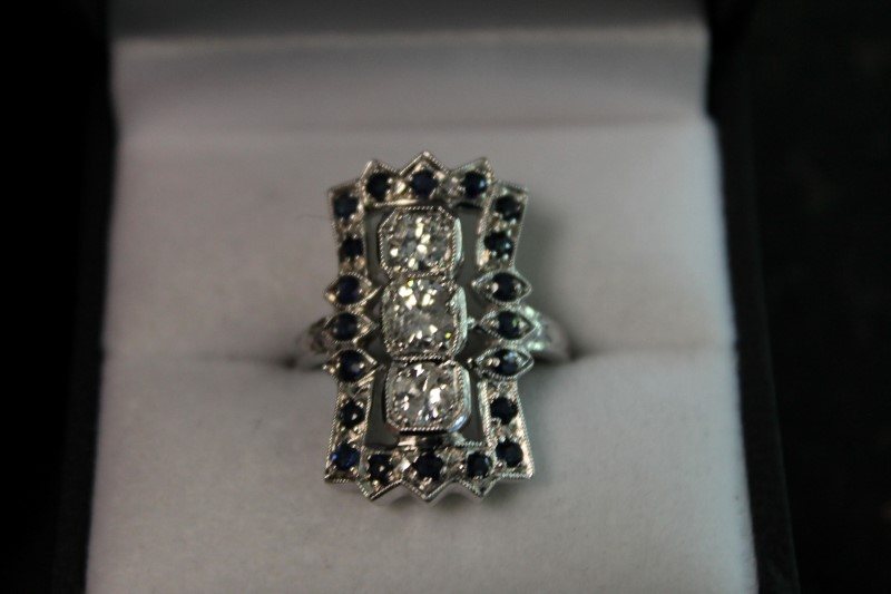 Syn Sapphire Lady's Stone & Diamond 14K White Gold Ring