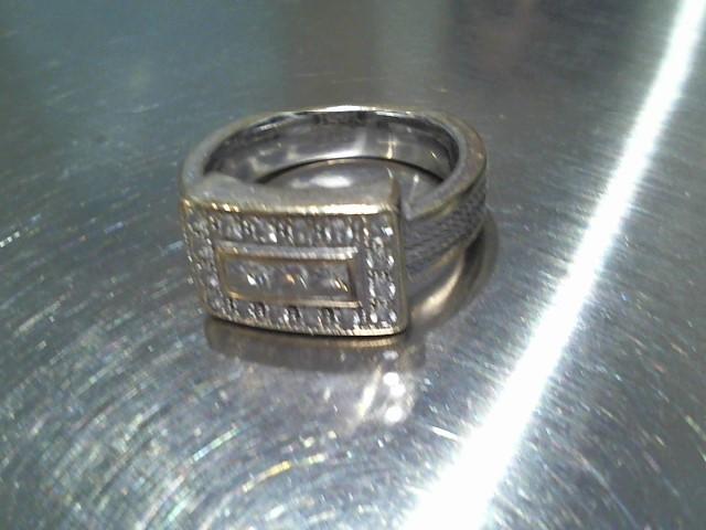 Lady's Diamond Cluster Ring 19 Diamonds .62 Carat T.W. 18K White Gold 8.1g