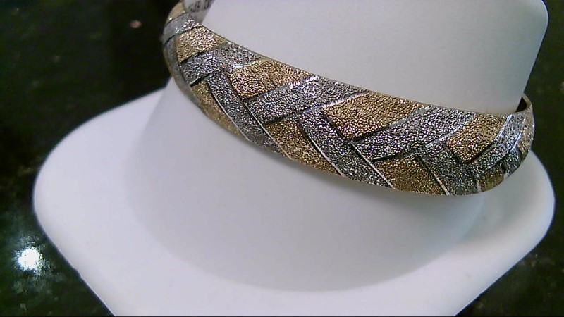 14K Yellow Gold Etched Weave Design Bracelet