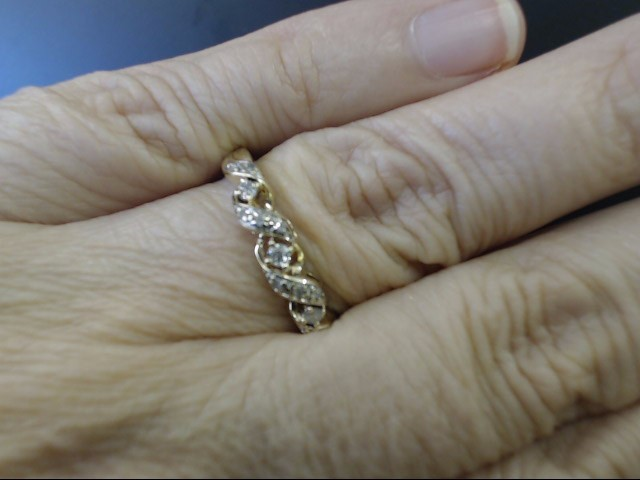NATURAL DIAMOND TWIST ANNIVERSARY WED RING BAND 10K GOLD SIZE 8.5