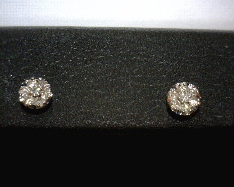 Gold-Diamond Earrings 14 Diamonds .14 Carat T.W. 10K White Gold 0.5dwt