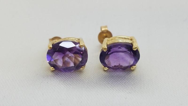 Amethyst Gold-Stone Earrings 14K Yellow Gold 2.3g