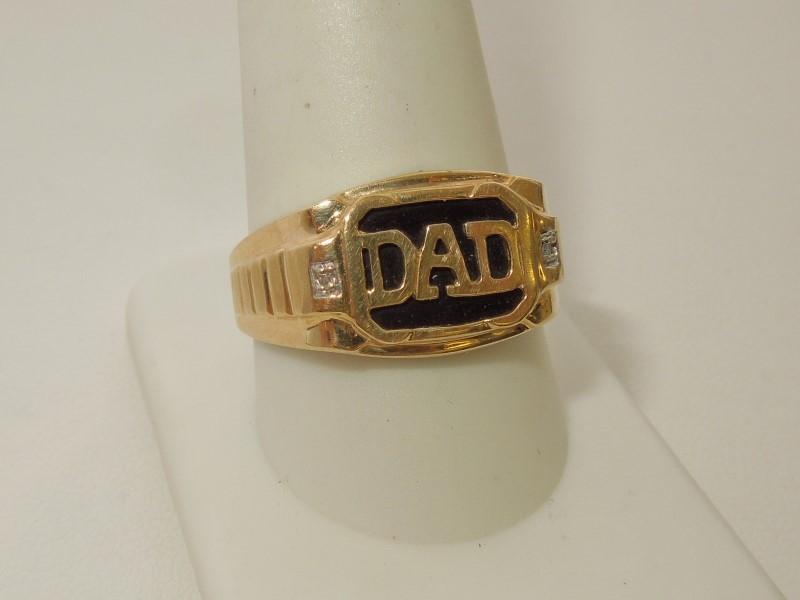 Black Stone Gent's Stone & Diamond Ring 2 Diamonds .010 Carat T.W.