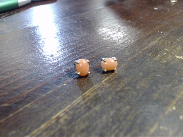 Pink Stone Gold-Stone Earrings 10K Yellow Gold 1.8g