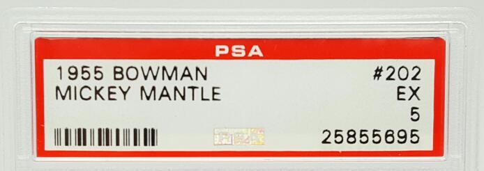 1955 BOWMAN MICKEY MANTLE #202 PSA - EX 5