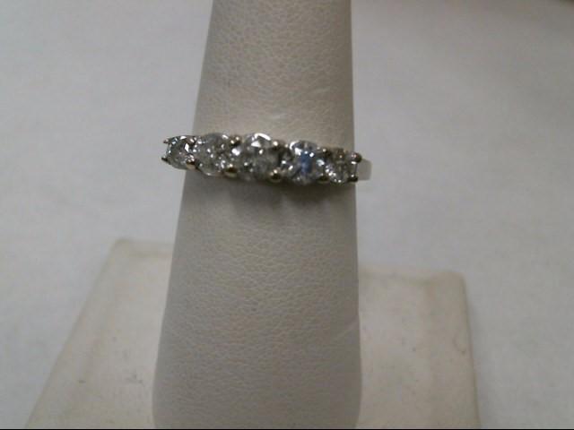 Lady's Diamond Fashion Ring 5 Diamonds .93 Carat T.W. 10K White Gold 2.6g