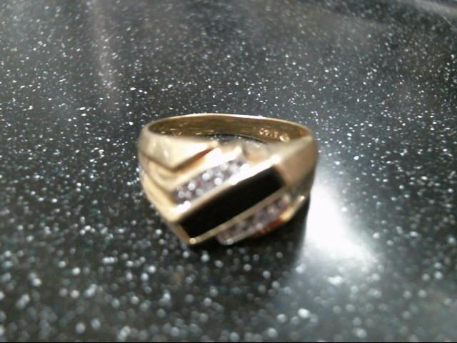 Black Stone Gent's Stone & Diamond Ring 4 Diamonds .12 Carat T.W.