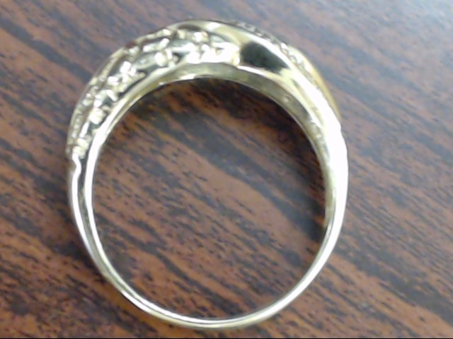 VINTAGE DIAMOND WED RING BAND SOLID 10K GOLD NUGGET WAVE MEN SZ 9.25