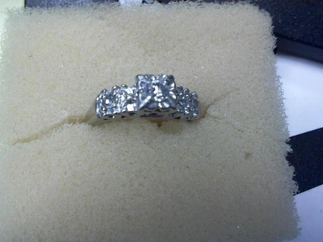 Lady's Diamond Engagement Ring 3 Diamonds .13 Carat T.W. 14K White Gold 3.1g