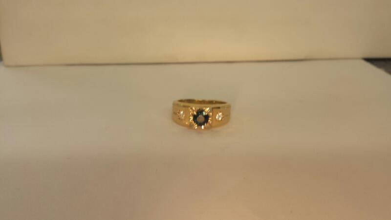 14K-Y/G Gts Blue Stone And Two Diamond Ring