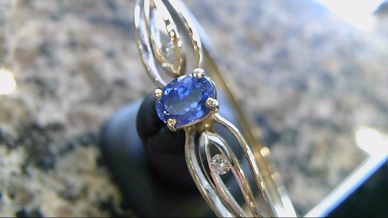 Blue Stone Gold-Diamond & Stone Bracelet 2 Diamonds .12 Carat T.W.