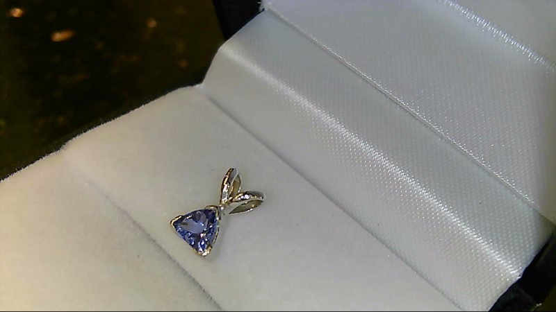 Lady's 14k white gold trillion tanzanite pendant