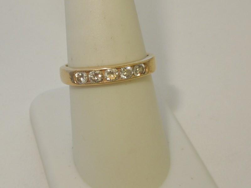 Lady's Diamond Fashion Ring 5 Diamonds .35 Carat T.W. 14K Yellow Gold 3.2g