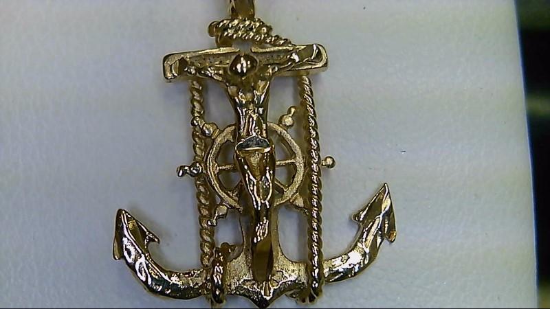 14k yellow gold crucifix anchor pendant