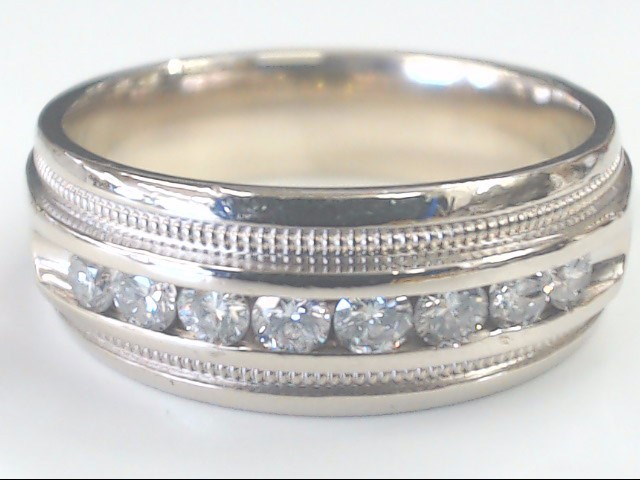 VINTAGE NATURAL DIAMOND WEDDING RING BAND SOLID 14K WHITE GOLD SZ 10