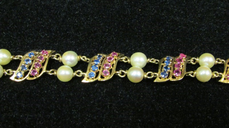 Synthetic Pearl Gold-Stone Bracelet 14K Yellow Gold 23.7g