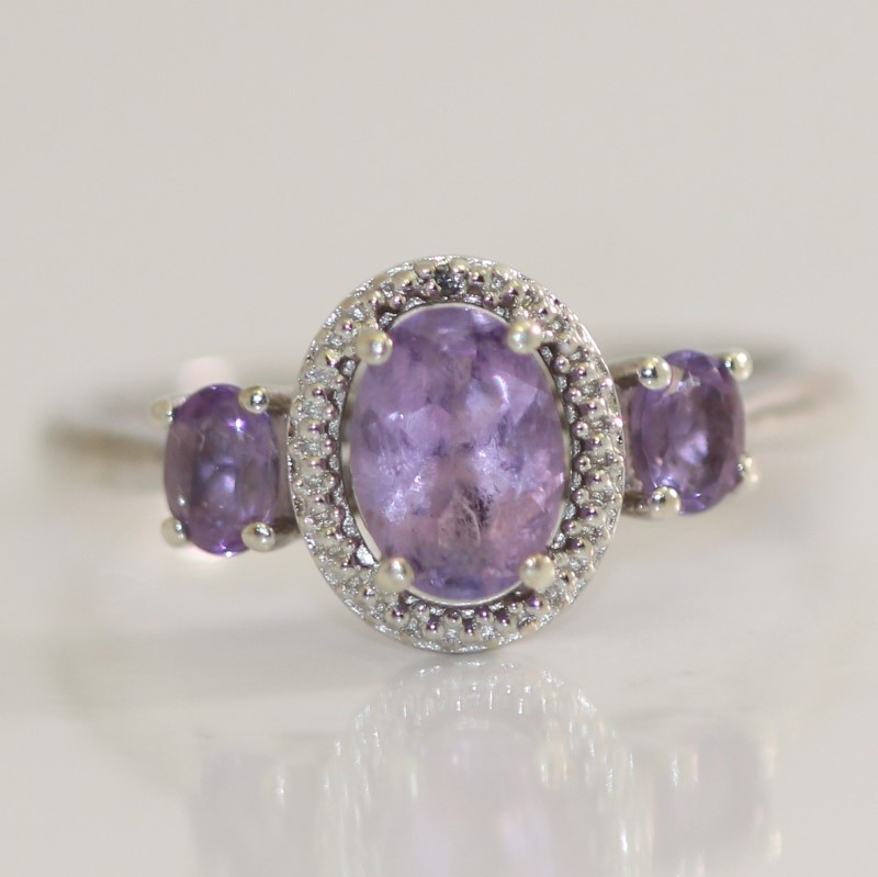Sterling Silver 3-Stone Round Cut Purple Stone Ring Size 6.75