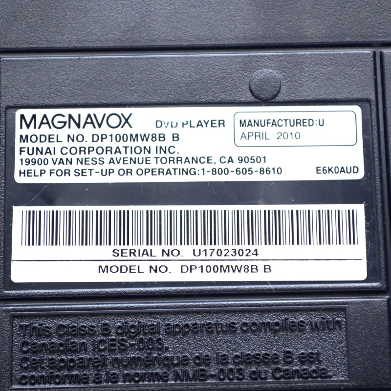 Magnavox DP100MW8B Progressive Scan DVD Player w/ Remote *