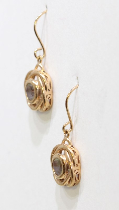 Sterling Silver Rose Gold Toned Color Changing Knot Drop Dangle Earrings Fall