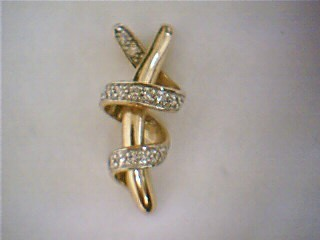 Synthetic Cubic Zirconia Gold-Stone Pendant 10K Yellow Gold 2.2g