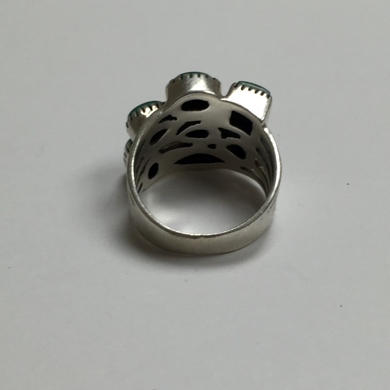 Green Stone Lady's Silver & Stone Ring 925 Silver 5dwt Size:7