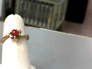 Carnelian Lady's Stone & Diamond Ring 2 Diamonds .02 Carat T.W. 10K Yellow Gold